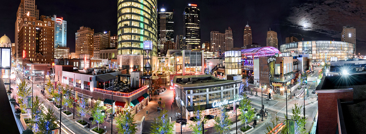Kansas City Power and Light District at Night