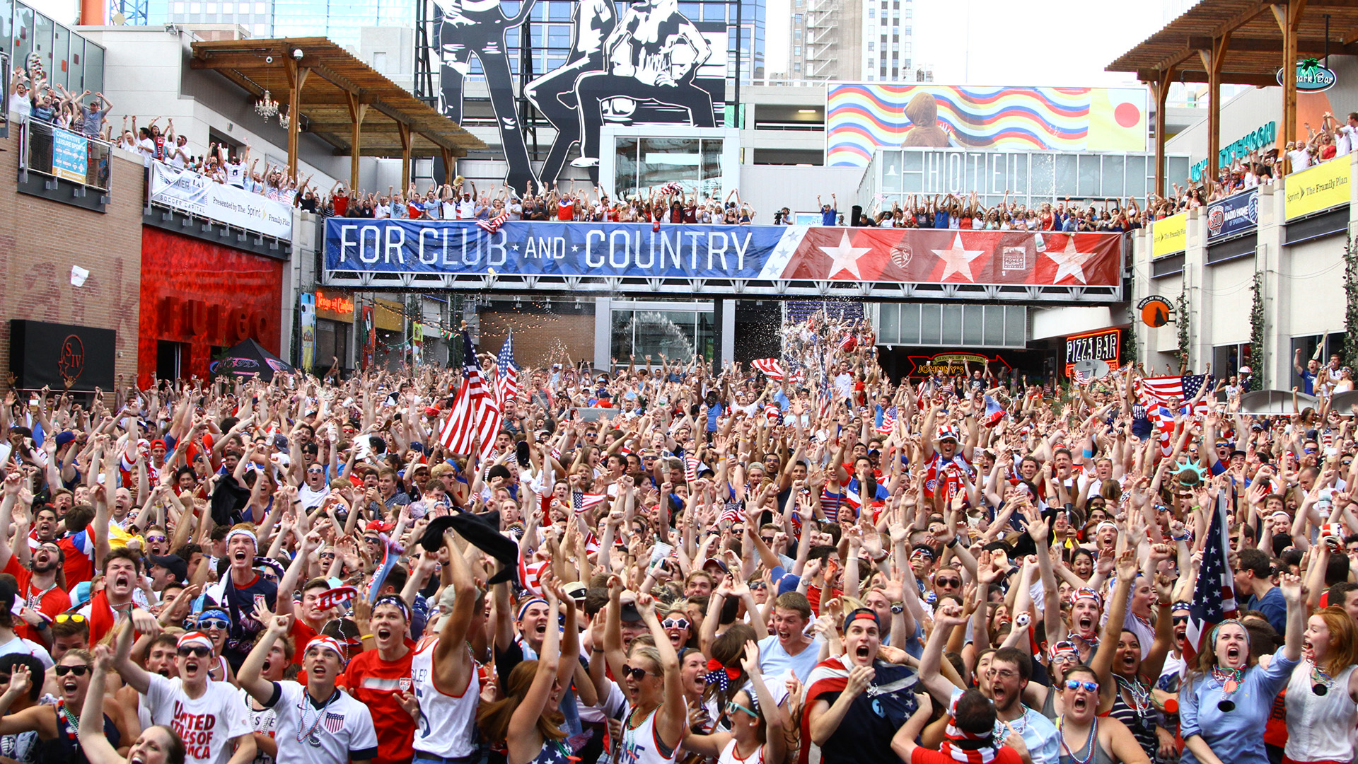 World Cup fans in Kansas City Power and Light District